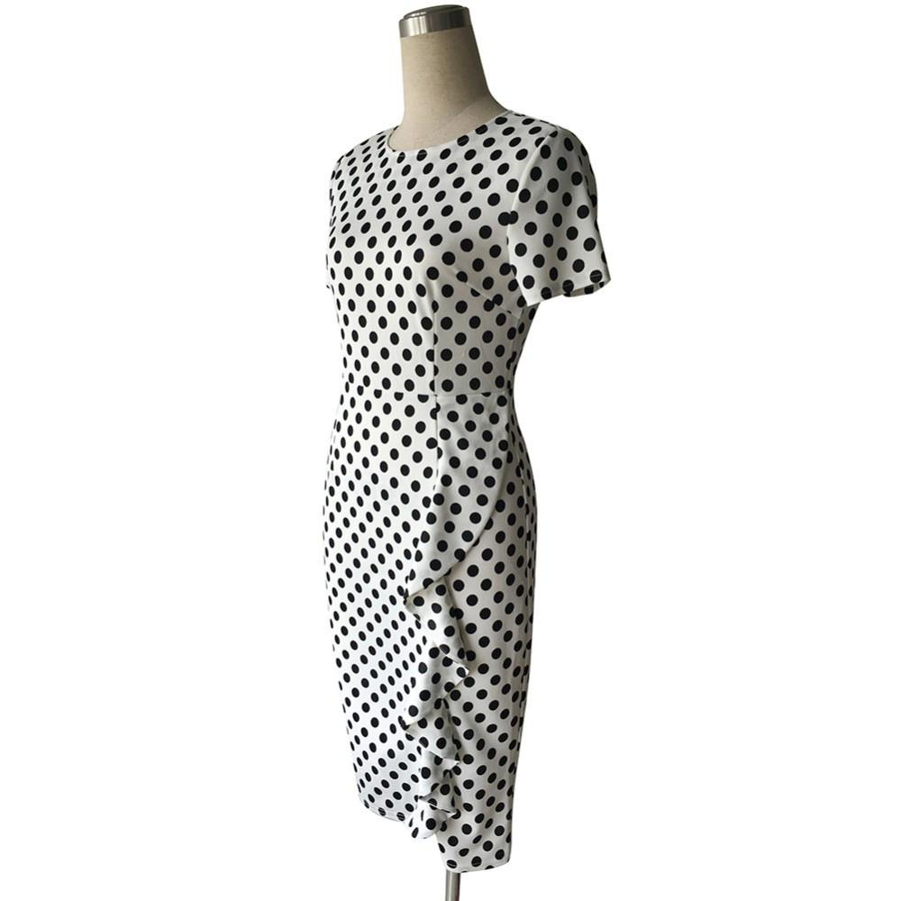 Retro Polka Dot Office Work Business Dress-Dress-SheSimplyShops