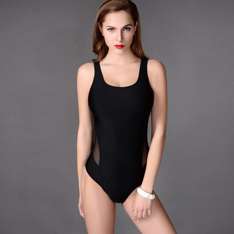 Classic Black Triangle Swimwear New Sexy Swimming Bodysuit One piece Swimsuit Women Bathing suit High waist Mesh monokini-SWIMWEAR-SheSimplyShops
