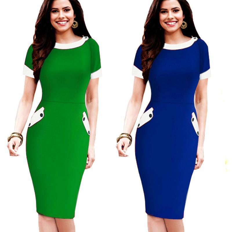 Nice-forever Ladies Office elegant Women Tunic Plus Size Work Dress button Short Sleeve Bodycon Business Pencil Midi Dress-Dress-SheSimplyShops
