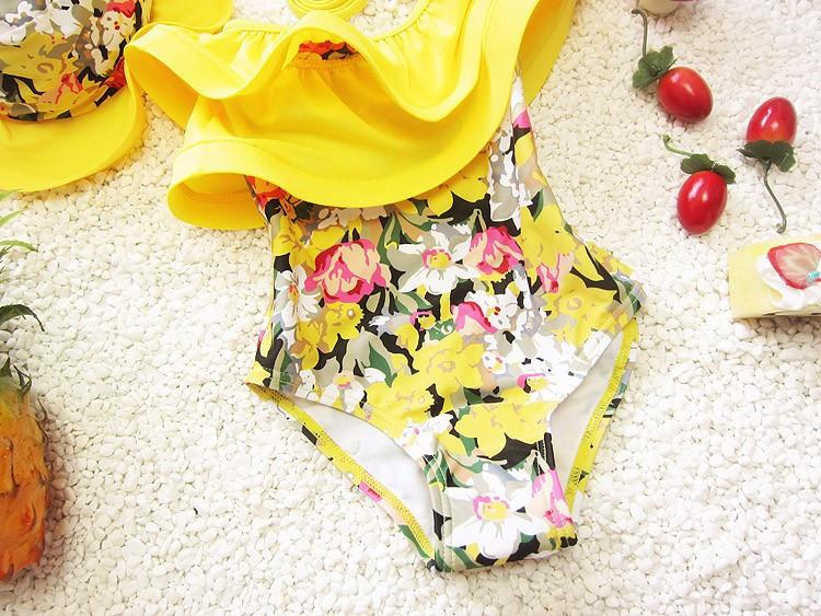 floral Print bathing suits swimwear with swimming cap for kids-SWIMWEAR-SheSimplyShops