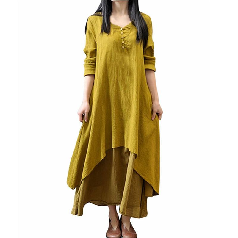 Women Casual Solid Spring Dress Loose Full Sleeve V Neck Button Dress Cotton Linen Boho Long Maxi Dress-Dress-SheSimplyShops