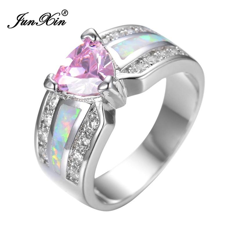 Elegant Fashion Pink Heart Female Opal Ring White Gold Filled Jewelry Vintage Party Engagement Wedding Rings For Women RP0029-JEWELRY-SheSimplyShops