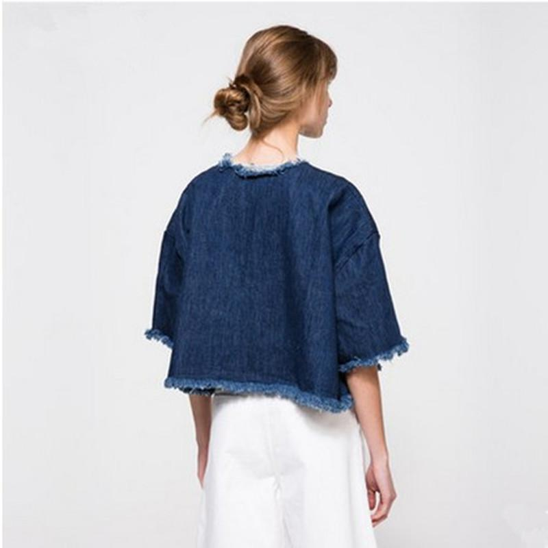 European Autumn Summer New T shirt Women Fashion Loose Solid Color O-neck Denim Short Shirt Washed Burr Crop Top T-shirts-SHIRTS-SheSimplyShops