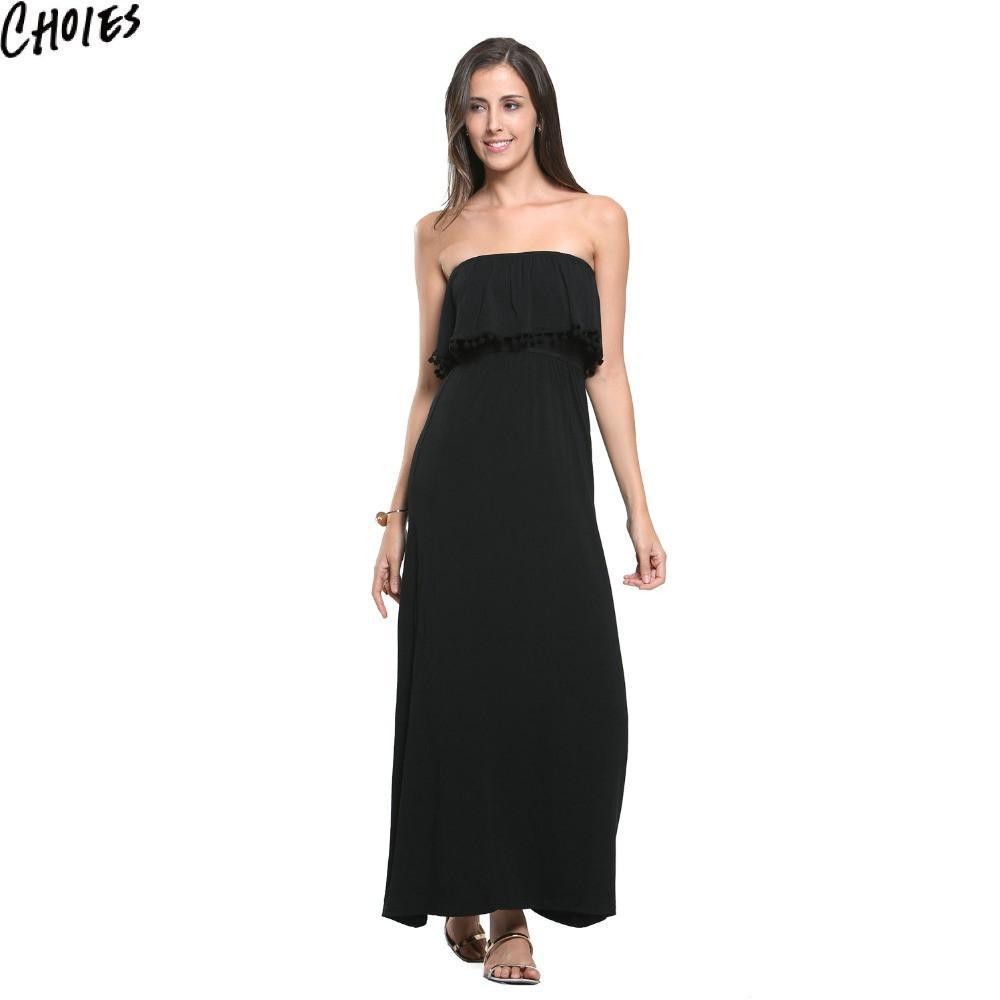 Women Black Sexy Strapless Overlay Pom Pom Drop Lined Beach Casual Maxi Dress Fashion Summer Elegant Off Shoulder Clothing-Dress-SheSimplyShops