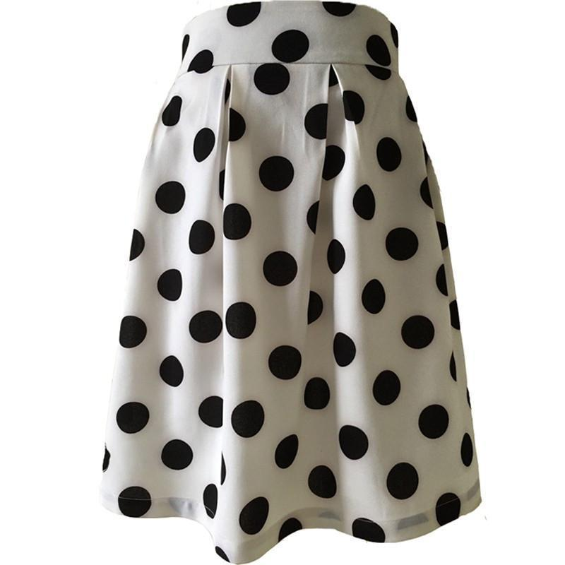 A Line Flared High Waist Polka Dots Knee-length Skirt-Dress-SheSimplyShops