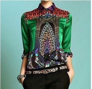 Sexy printed Shirt Women's Long sleeve Casual blouse Green & High Quality Blouse Slim Fashion Tops-Blouse-SheSimplyShops