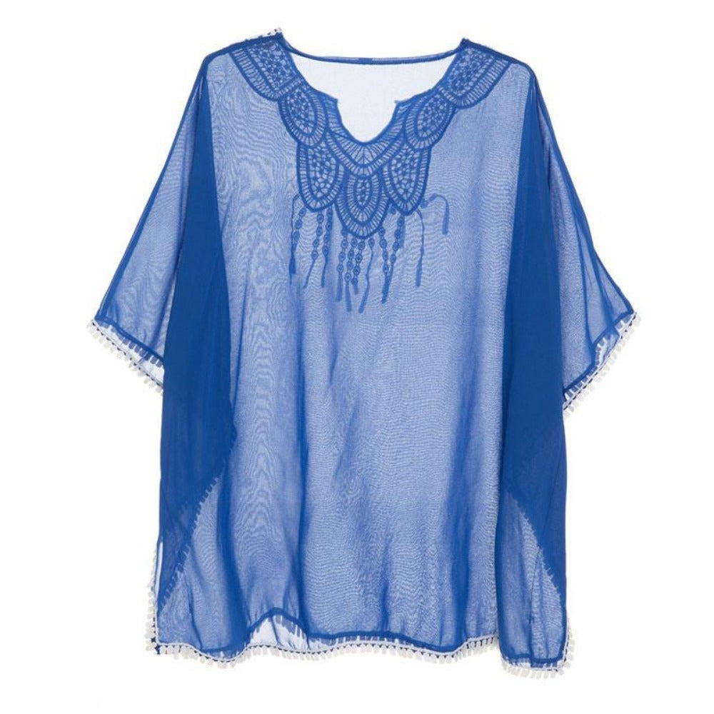 HEEGRAND Women Blusas Blusa Body Summer Batwing Sleeve Long Tops Appliques Asymmetrical V-Neck Collar WOS036-Tops-SheSimplyShops