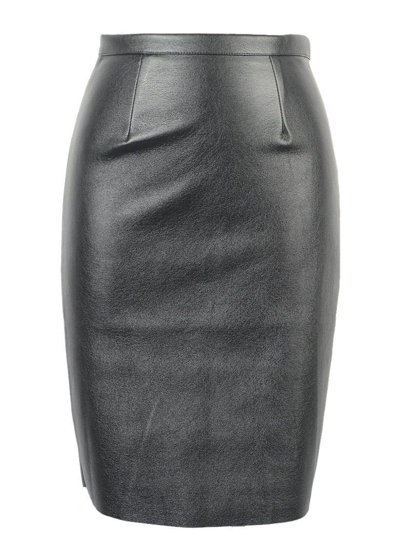CHOIES Women Black Faux Leather Split Zipper Back High Waist Mini Pencil Skirt In Stock 2015 Spring New-Dress-SheSimplyShops
