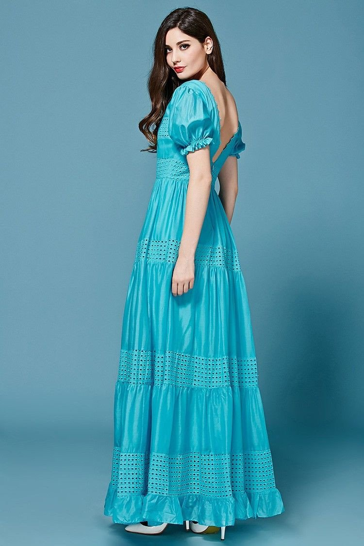 Bohemian Dress High Quality 2016 New Fashion Summer Long Dress Short Sleeve Hollow out Green /Blue Cotton Long Dress-Dress-SheSimplyShops