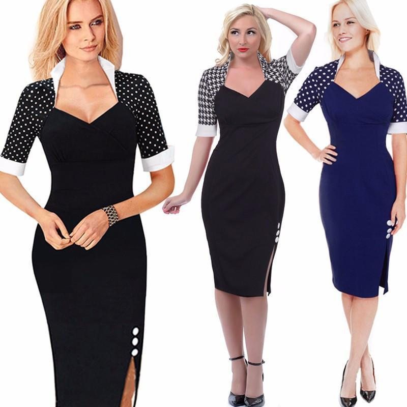 Women Elegant Patchwork Buttons Polka Dots Split Pencil Dress-Dress-SheSimplyShops