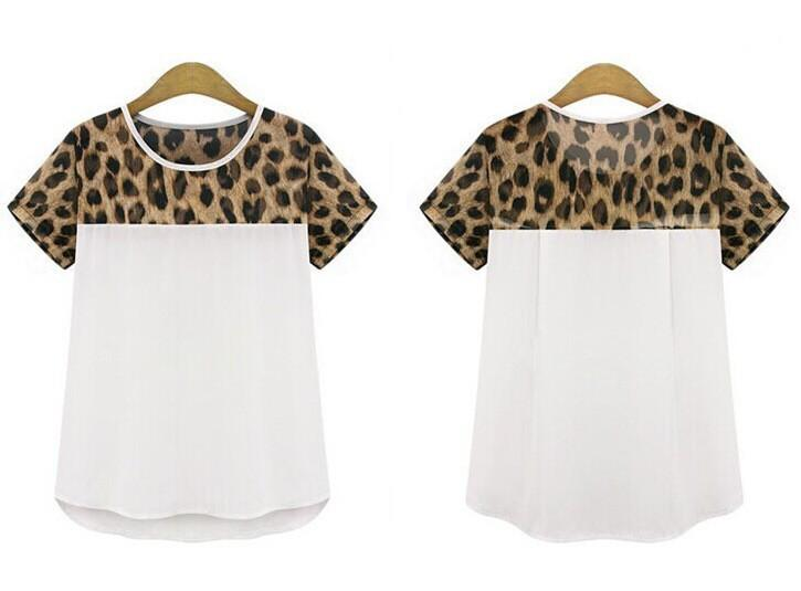 Women Blouses Leopard Print Short Sleeve Chiffon Shirts Ladies Tops Casual Women's Clothing New Summer White Black-Blouse-SheSimplyShops