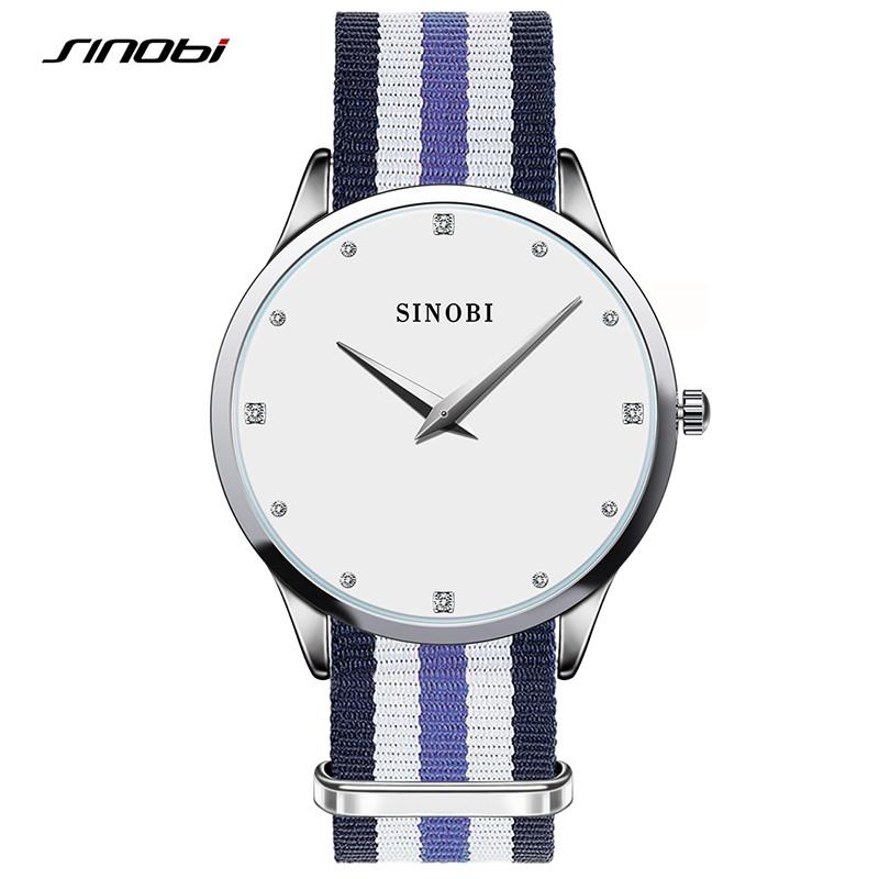 Sinobi Slim Diamond Quartz Wrist Watches Women Fashion Nylon Strap Watch Luxury Brand Ladies Quartz-watch Wristwatch-WATCHES-SheSimplyShops