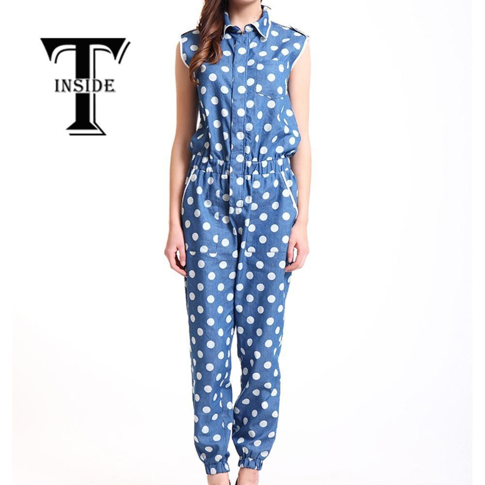 T-Inside Women's Casual Cotton Sleeveless Jumpsuit Playsuit Romper Overall Clothing with High Waist Blue S/M/L-ROMPERS & JUMPSUITS-SheSimplyShops