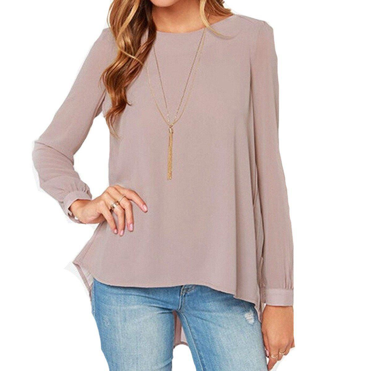 Summer Style Hot Sale Women Sexy Casual Loose Chiffon Tops Long Sleeve Solid Shirts Ladies Blouses Plus Size S-XL-Blouse-SheSimplyShops