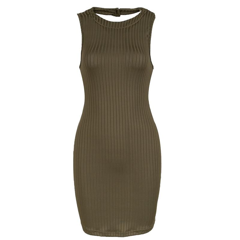 Womens Olive Green Stripped Halter Bodycon Dress Mini Club Party Dress-Dress-SheSimplyShops