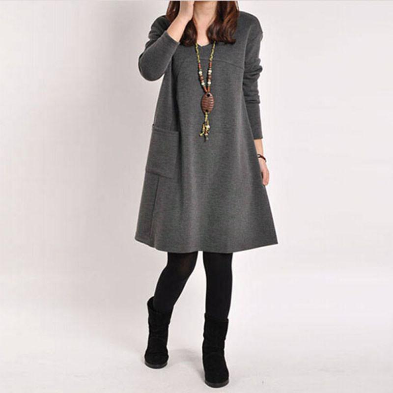 Spring Autumn 2016 Elegant Women Casual Long Sleeve Pocket Dress Solid O Neck Loose Dresses Vestidos Plus Size-Dress-SheSimplyShops