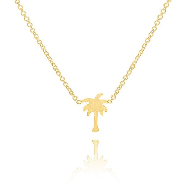 New Women Boho Jewelry Gold Silver Modern Tiny Palm Tree Charm Necklaces 304 Stainless Steel Engagement Gift-NECKLACE-SheSimplyShops