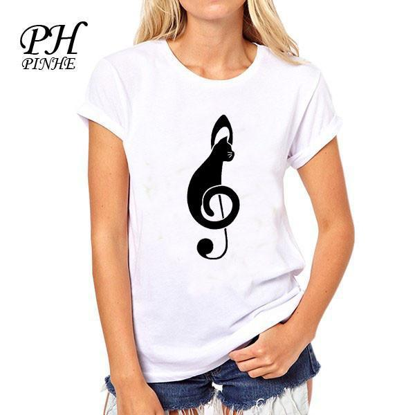 PinHe Note and Black cat Pattern printed women t shirts Fashion Women tops Novetly Short Sleeve camisetas mujer-SHIRTS-SheSimplyShops