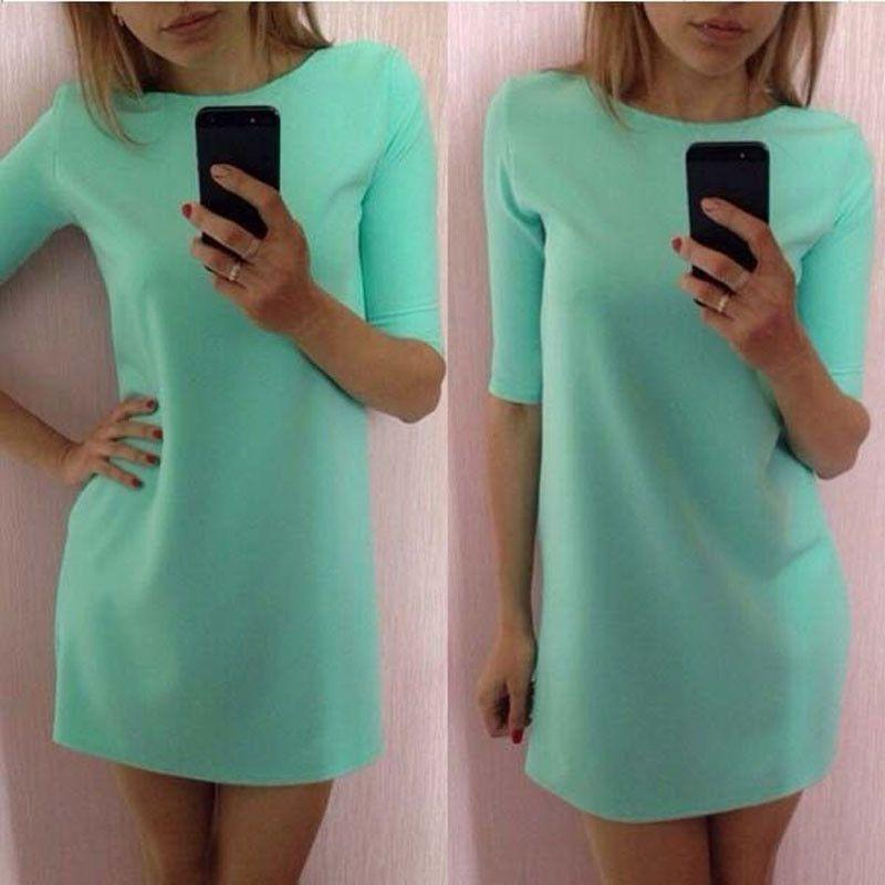 Brand Women Girls Summer Casual Pure Color Mini Dress Party Bandage Dress Plus-Dress-SheSimplyShops