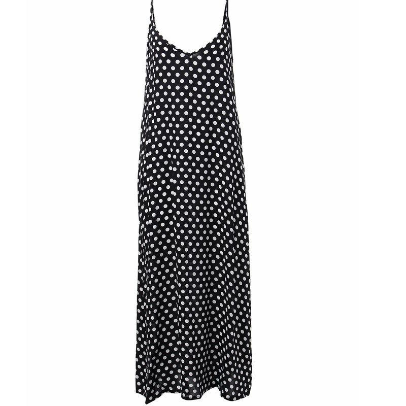 Summer Dress Fashion Women Strapless Polka Dot Casual Loose Long Maxi Dress Sexy Beachwear Cotton-Dress-SheSimplyShops