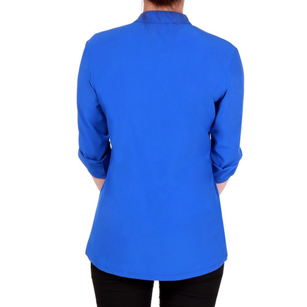 Fashion Women Elegant Stand Neck 3/4 Sleeve Shirt Casual Fake Pocket Zipper Career Shirt Tops Blouse Spring/ Summer-Blouse-SheSimplyShops