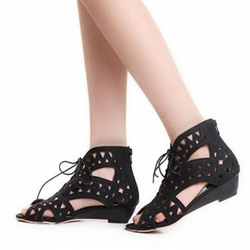 Fashion Cut-outs Lace Up Sandals Open Toe Low Wedges Bohemian Summer Shoes Beach Shoes Woman White Shoes-SHOES-SheSimplyShops
