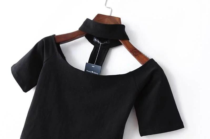 Off shoulder choker neckline long-sleeve crop Top-Tops-SheSimplyShops