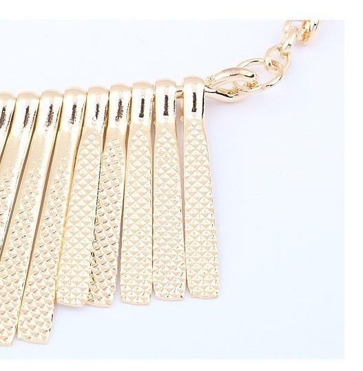 Sunshine Fashion jewelry Collar Necklace Metal Multilayer Chain Tassel Choker Bib False Gold silver necklace for lady Women-NECKLACES-SheSimplyShops