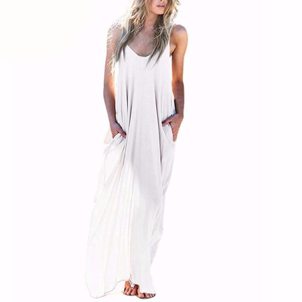 Summer Style Women Boho Strapless Sexy V Neck Sleeveless Dress Casual Loose Long Maxi Solid Dress White Oversized-Dress-SheSimplyShops