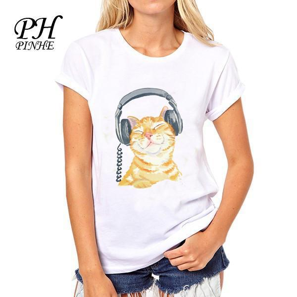 Summer Brand Cat Printed T shirt Lady Short Sleeve Cute Tops Women Plus Size Tee Shirts-SHIRTS-SheSimplyShops
