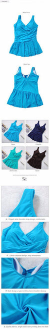 summer New 4 colors Big women's beach dress ladies bathing suit Plus size swimwear large size clothes one pieces swimsuits-Dress-SheSimplyShops