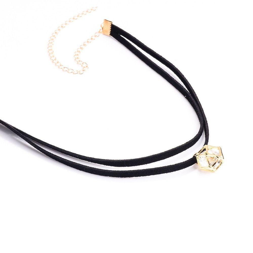 Black Double Layer Faux Suede Leather Choker Necklace Dimond Shape Stone Pendant-NECKLACES-SheSimplyShops
