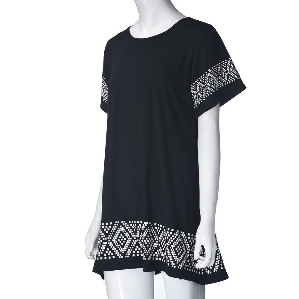 New High Street Women Ladies Dresses Casual Clothing Black Round Neck Short Sleeve Printed Short Vintage Dress New-Dress-SheSimplyShops