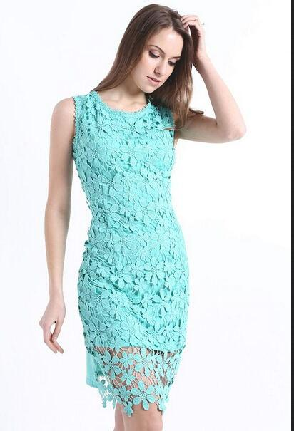 Spring New Women High Street Fashion Full Lace Party Novelty Dress Lace Dress (without Belt)-Dress-SheSimplyShops