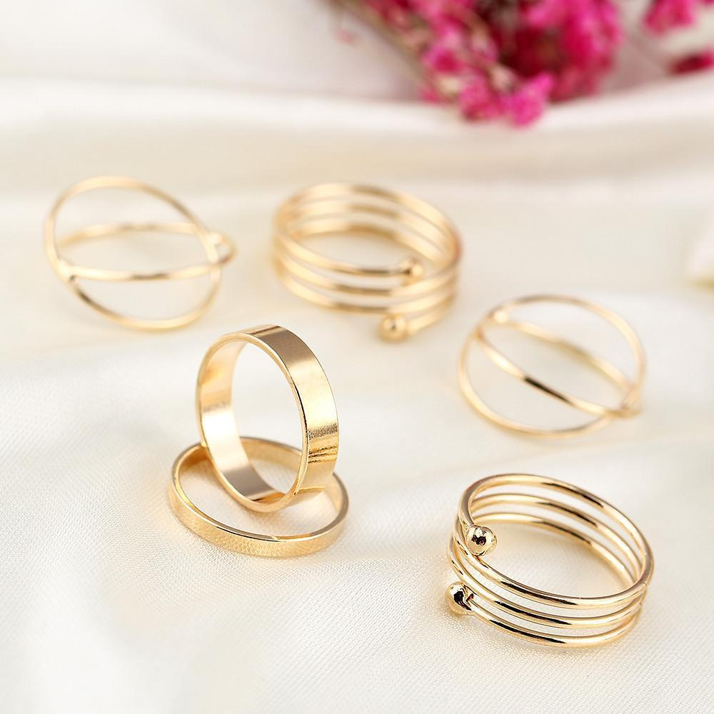 Hot Unique Ring Set Punk Gold Plated Knuckle Rings for women Finger Ring 6 PCS Ring Set Best Selling M12-SheSimplyShops
