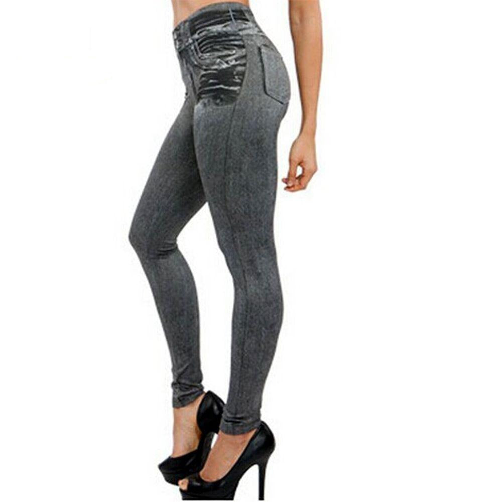 Spring Autumn New Fashion Skinny Slim Thin High Elastic Waist Washed Jeans leggings Pencil Pants Denim Leggings For Women-JEANS-SheSimplyShops