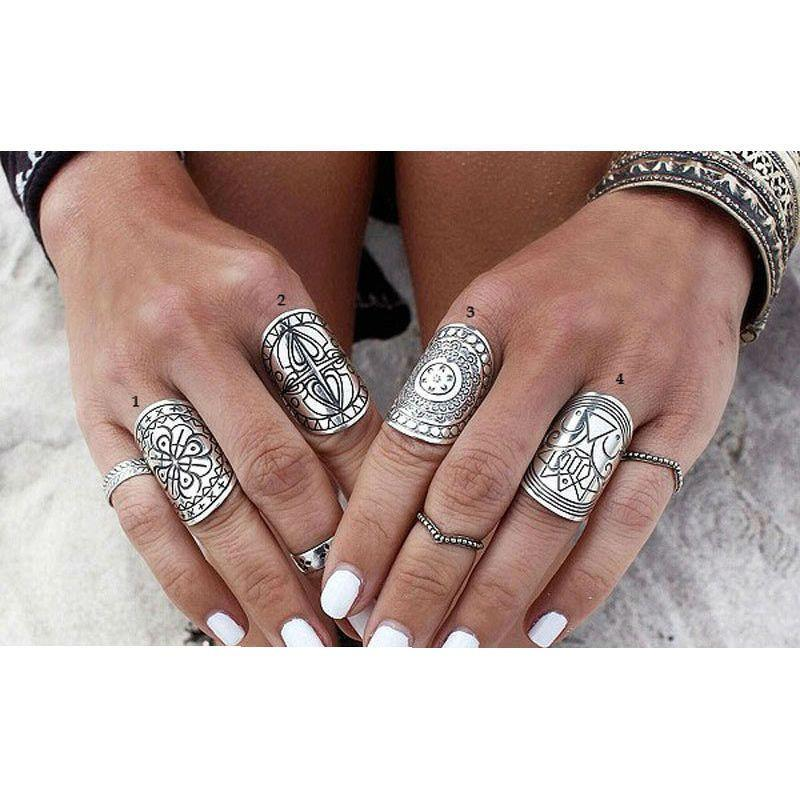 4PCS New Bohemia Vintage Unique Carving Tibetan Silver Plated Ring Set for Women Boho Beach Jewelry-JEWELRY-SheSimplyShops
