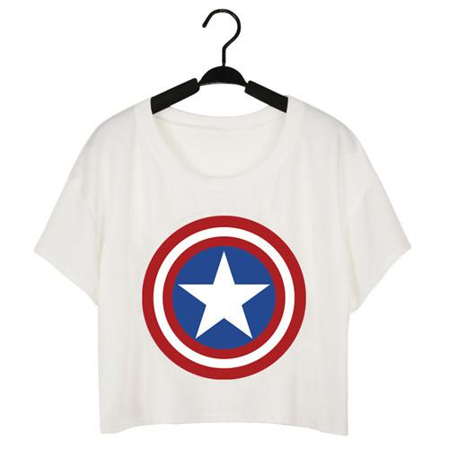 Summer Punk Women T Shirt Womens Captain America Logo Black T-shirt Punk Tee Plus Size Cheap Clothes-SHIRTS-SheSimplyShops