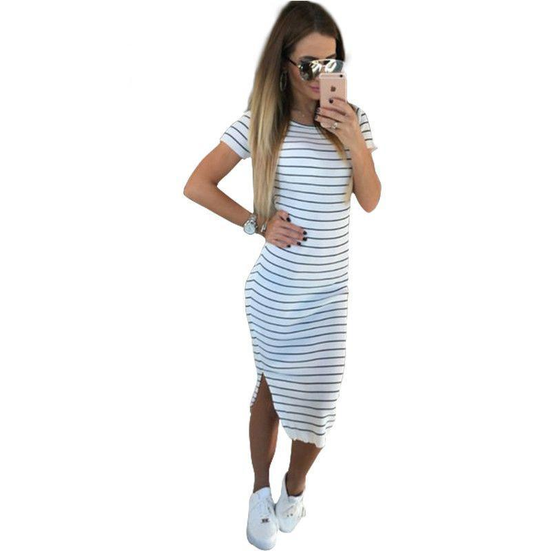 Casual Summer Women Dress Short Sleeve Round Neck Slim Fit Bodycon Dress Striped Side Split T Shirt Womens Dress-Dress-SheSimplyShops