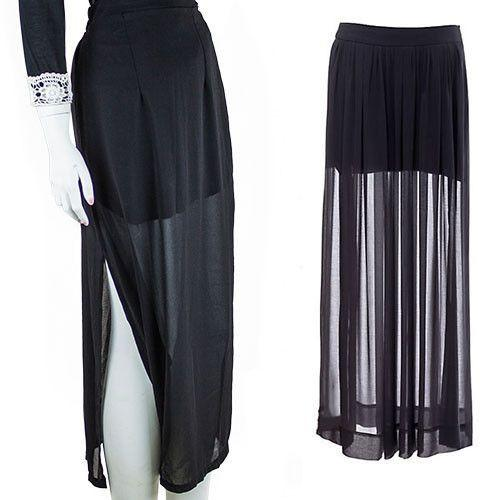 Clear Women's Sheer High Side Split Black Pleated Chiffon Maxi Long Skirt-Dress-SheSimplyShops