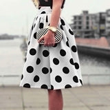 Summer Fashion Plus Size Elegant Ladies Flared High Waist Polka Dots Knee-length Skirt Womens White Petite A Line Skirts-SKIRT-SheSimplyShops