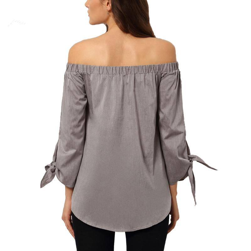 Long Sleeve Bow-knot Loose Casual Blouse-Blouse-SheSimplyShops