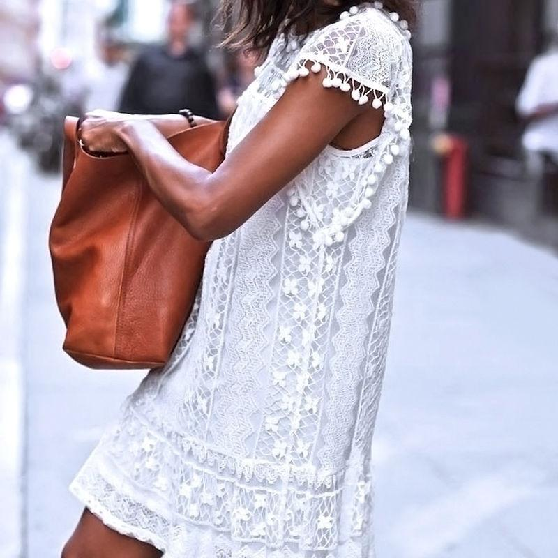 Sleeveless Lace Tassel White Mini Dress-Dress-SheSimplyShops