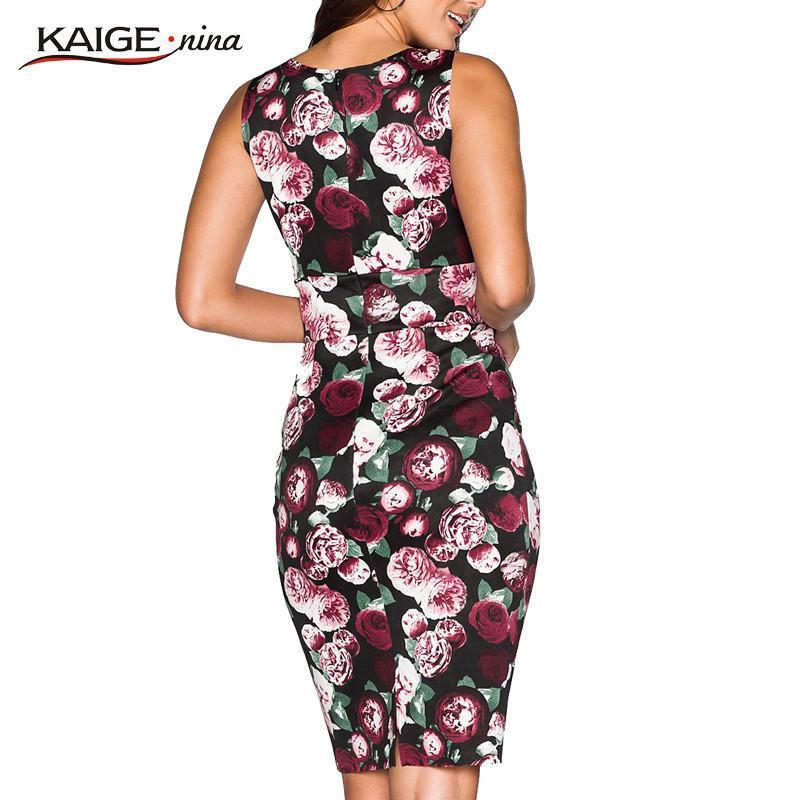 Women Flower Printing Sleeveless Clothes O-Neck Knee-length Lady Dress-Dress-SheSimplyShops