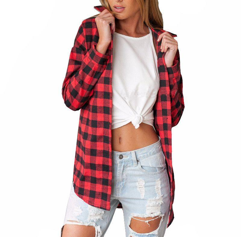 New arrival tops for womens casual shirts european blouses for Best flannel shirt brands