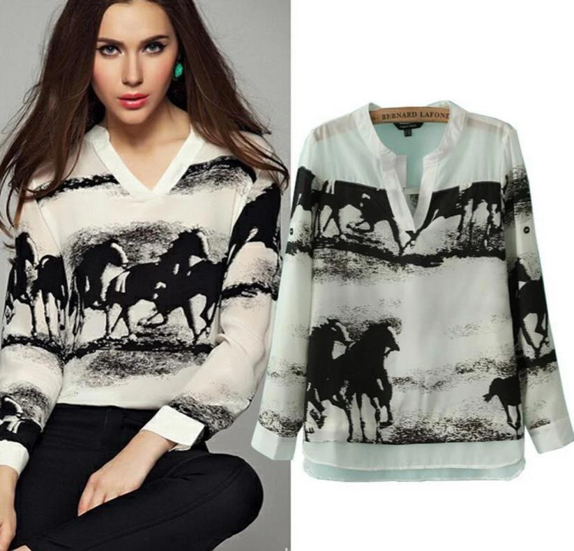 Long Sleeve V Neck Ink Horses Print Casual Tops-Tops-SheSimplyShops