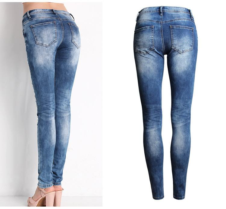 Stylish Denim Stretch Ripped Skinny Jeans-JEANS-SheSimplyShops