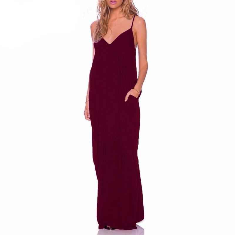 Strapless Sexy V Neck Sleeveless Dress-Dress-SheSimplyShops