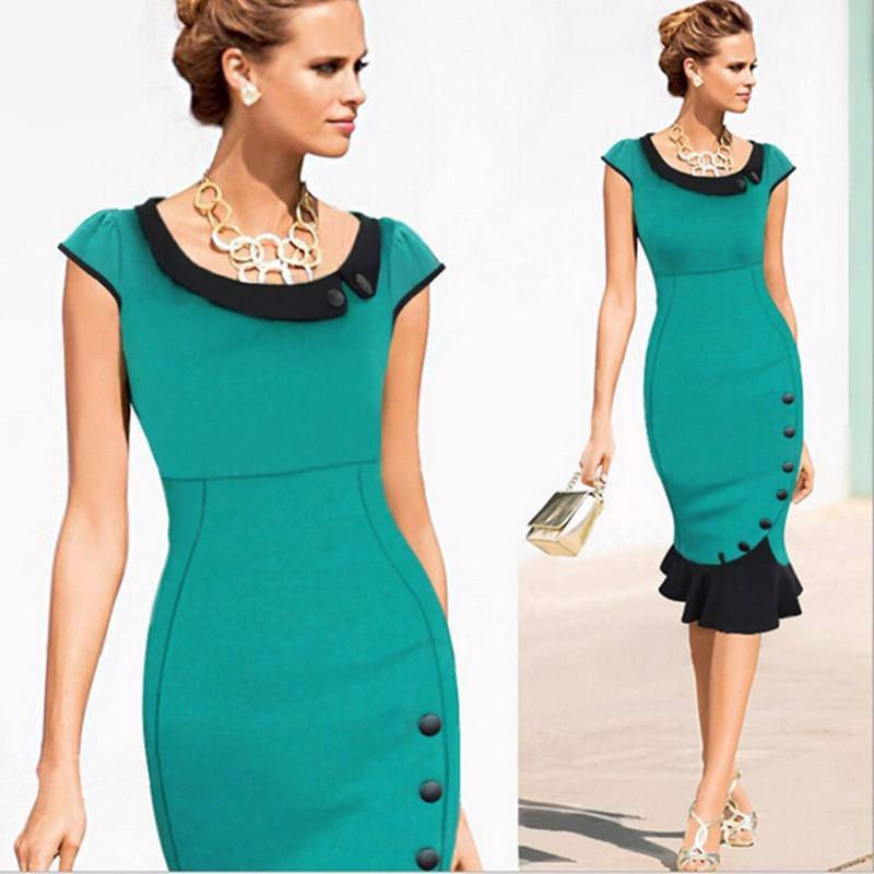 Womens Formal Lace Button Tunic Mermaid Midi Pencil Dress-Dress-SheSimplyShops