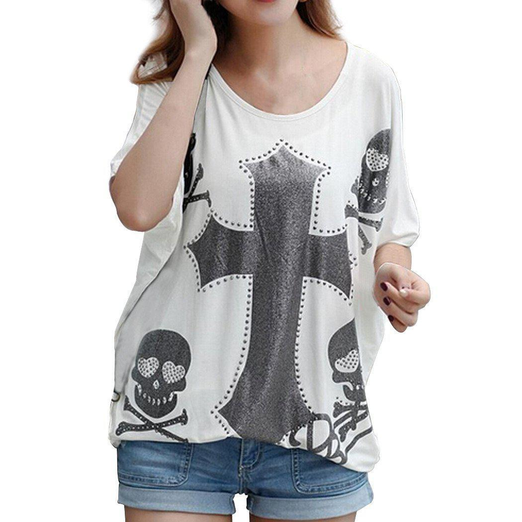 Women's Batwing Sleeve Cross Ghost Head Printing T-shirt-SHIRTS-SheSimplyShops
